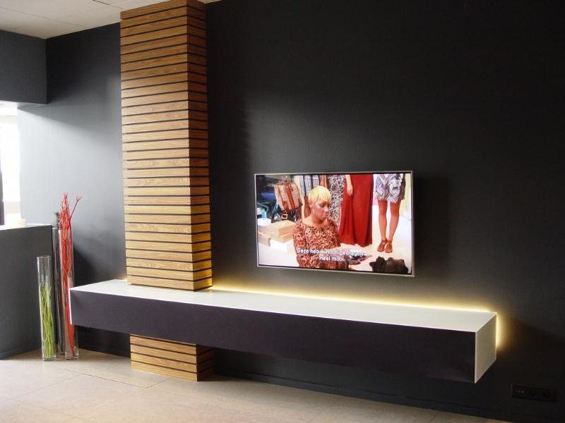 Glazen Design Tv Meubel.Zwevend Tv Meubel Met Glas Bedrijf Artson Beeld En